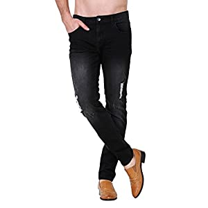 ZLZ Men's Ripped Skinny Distressed Destroyed Slim Fit Stretch Biker Jeans Pants with Holes