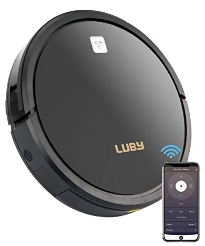 Luby Smart Thin Robot Vacuum Cleaner for Pet Hair,Power Suction,Ultra Quiet,Wifi Connectivity, Self-Charging,CleansCarpet,Hardwood,Tile.