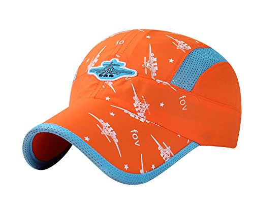 (Home Prefer Kids Boys Lightweight Quick Drying Sun Hat Outdoor Sports UV Protection Caps Mesh Side Ball Cap Orange)