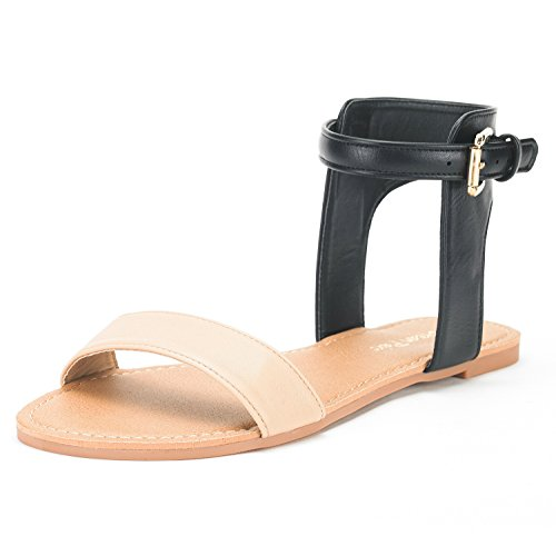 (DREAM PAIRS Women's Alexa Nude Black Cute Open Toes One Band Ankle Strap Buckle Flat Sandals - 8 M US)