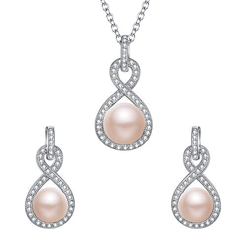 - EleQueen 925 Sterling Silver CZ AAA Button Cream Freshwater Cultured Pearl Bridal Jewelry Necklace Earrings Set Cream