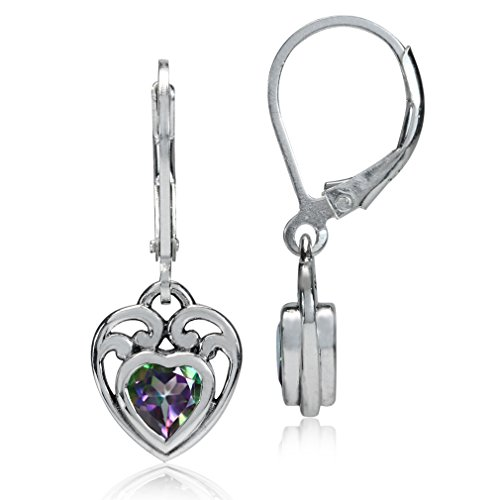 1.1ct. Heart Shape Mystic Fire Topaz 925 Sterling Silver Filigree Leverback Earrings