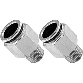 Straight Pneumatic Fitting for 1//2 OD Hose PTC Vixen Air 3//8 NPT Male Push to Connect Bundle of Two Fittings VXA7312-2