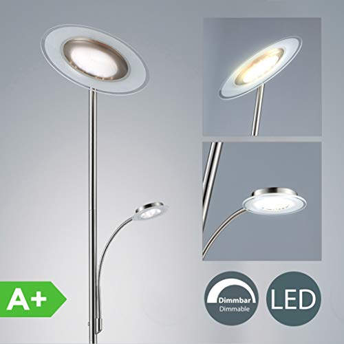 LED Lámpara de pie moderna de Salon 21W, Color níquel mate, Metal y vidrio, Regulable y orientable, 230 V, IP20, Altura: 1795 mm