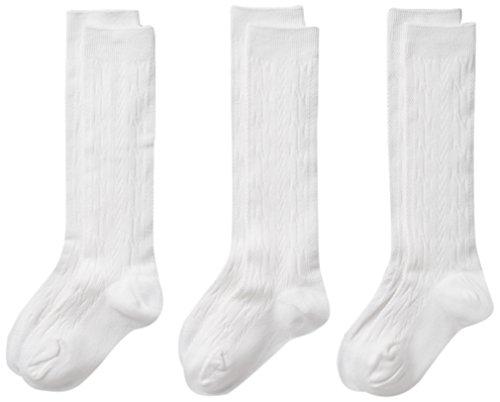 CLASSROOM Little Girls' Uniform Cable Knee Hi Socks 3 Pack, White, ()