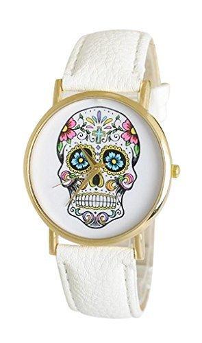 Ottilie Women's Analog Skull Watch With White Leather Strap (Sugar Skulls Costume)