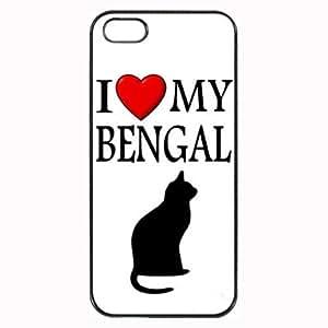Custom Bengal I Love My Cat Symbol Silohuette iPhone 4 4S Case Cover Hard Shell