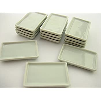 25x50mm Of 6 Rectangle Plate//Tray Dish Dollhouse Miniature Ceramic Supply 10678