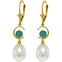 14k Gold Dangle Earrings with Natural Emeralds and Pearls