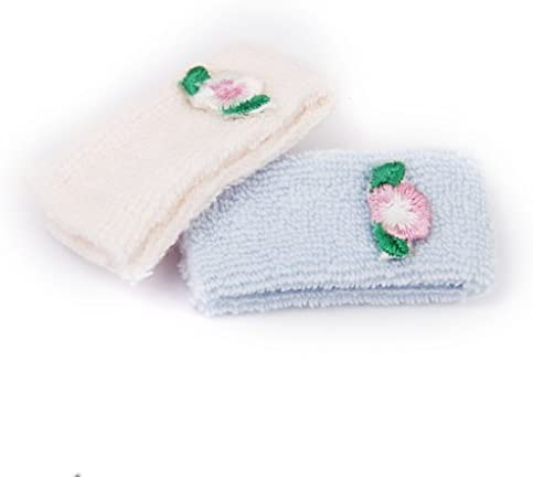 2pcs Pink and Blue Towels Wash Cloth for 1:12 Dollhouse Miniature Bathroom