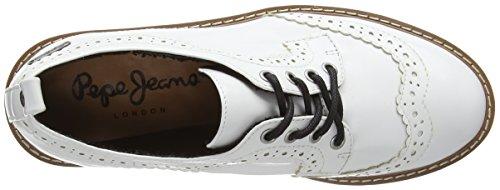 Pepe Jeans Ramsy Basic, Zapatos de Cordones para Mujer Blanco - Weiß (White 800)