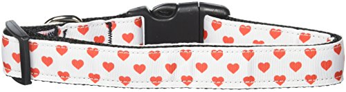 Mirage Pet Products 125-163 LG White and Red Dotty Hearts Nylon Dog Collar, Large ()