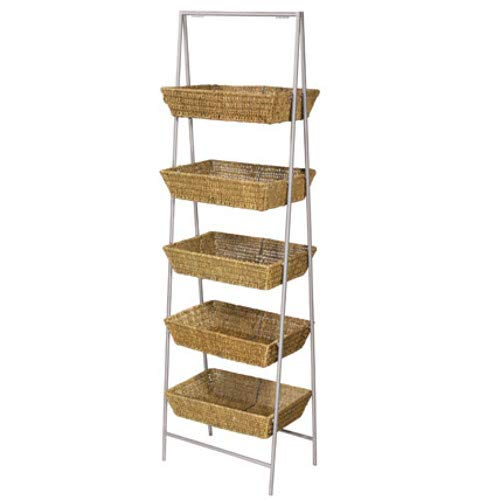 5 Tier Wicker Basket Stand in Natural 21 in. W x 14 in. D x 63 3/4 in. H