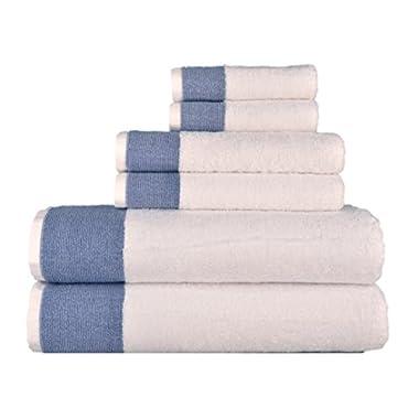 Venice 6 Piece Luxury 100 Percent Turkish Combed Cotton Towel Sets, Navy Blue Jacquard Design