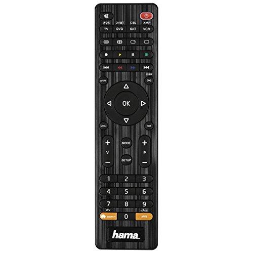 Hama Universal Fernbedienung 8-in-1 (lernfähig, bis zu acht Geräte, vorprogrammiert für über 1000 Marken, TV/DVD/VCR/SAT/AUX/DVBT/CBL/AMP) IR Multifunktionsfernbedienung Ersatzfernbedienung schwarz