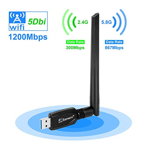WiFi Adapter for PC 1200Mbps Ssnwrn USB 3.0 Wireless Network Adapter WiFi Dongle 802.11 ac with Dual Band 2.4GHz/300Mbps+5.8GHz/867Mbps 5Dbi High Gain Antenna for Desktop Windows 10/8/7/Vista/XP Mac