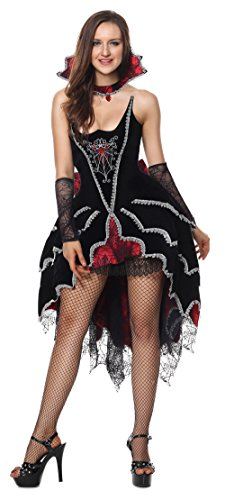Sibeawen Women's Deluxe Dark Webbed Mistress Plus Size Vampire Halloweens Costumes Black Small/Medium