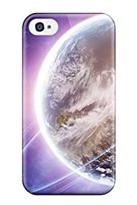 AqONGVF4297RafUx Tpu Phone Case With Fashionable Look For Iphone 4/4s - Planet Rings Purple Space Amp