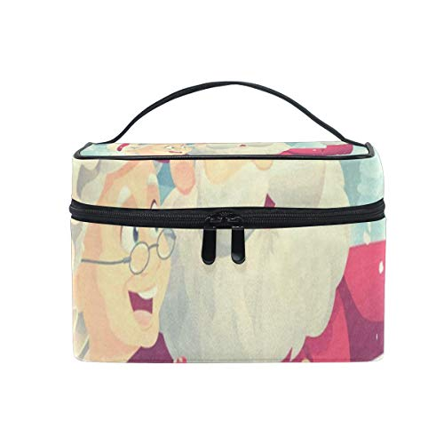 Cosmetic Bag Santa Claus And Mrs Womens Makeup Organizer Girls Toiletry Case Box Lazy Zip Bag