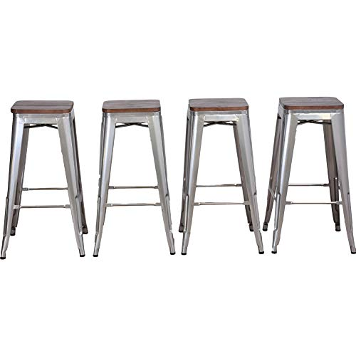 DeKea 30 Inch Bar Stools Counter Height with Wooden Top Seat Metal Stool [Set of 4] for Kitchen or Indoor/Outdoor Barstools, Backless Silver
