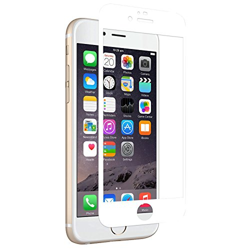 Amovo Screen Protector for iPhone 6s [iPhone 6/6s FULL COVER Tempered-Glass], Premium HD 0.26mm Round Angle Anti-Fingerprint Screen Glass Protector for iPhone 6 (4.7) (White)