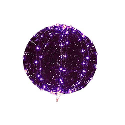 6 Pcs LED Balloons, Kicpot Transparent Purple Light Up Party Balloons with 3M Color Lamp Line Light Glow in The Dark Party Supplies by Kicpot