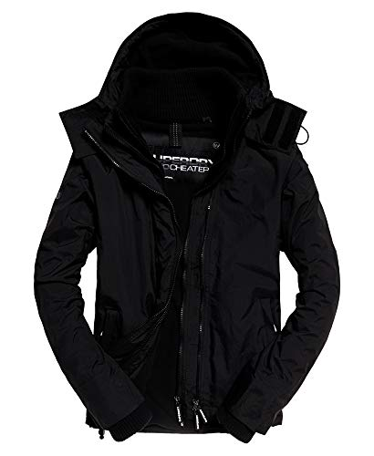Superdry Men's Arctic Pop Zip Hooded Water-Resistant Windcheater Jacket (Black/Black, XX-Large)