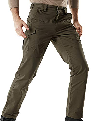 CQR Men's Tactical Pants Lightweight EDC Assault Cargo, Flexy Cargo(tfp513) - Tundra, 38W/32L