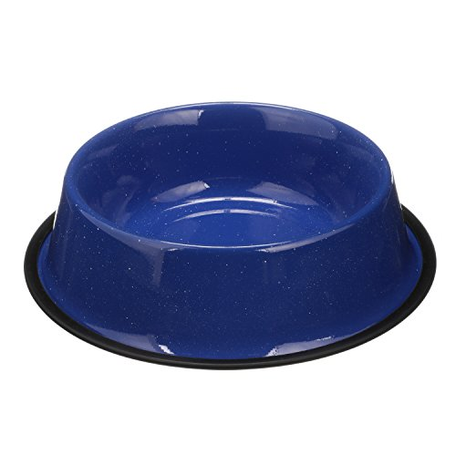 Bowl Bowls Tip (NEATER PET BRANDS - Outdoor Camping Style Pet Bowl - Enamel Ware Blue Black Granite Colors - Dog Cat No Tip Skid Bowls (64 oz, Blue))