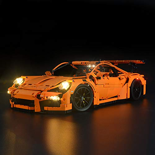 Briksmax Technic Porsche 911 GT3 RS Led Lighting Kit- Compatible with Lego 42056 Building Blocks Model- Not Include The Lego ()