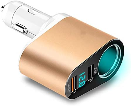 車の充電アダプタでUSB車の充電器、クイックチャージ自動車電話の充電器デュアルQC 3.0は、Fast同時に2つのデバイスを充電します