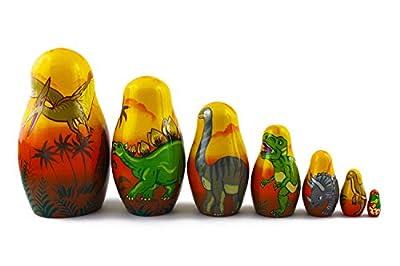 Matryoshka Babushka Russian Nesting Wooden Stacking Doll Dinosaurs 7 Pcs