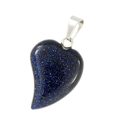 - Steampunkers USA Unchained Big Heart Collection - 20mm Wavy Galaxy Goldstone Black Blue Sparkle - Pendant Only – Smelt Gemstone Tribal Ethnic Carved Necklace - Stainless Steel Bail