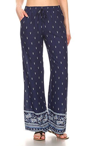 2ND DATE Women's Border Print Wide Summer Pants