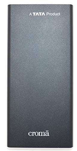 Croma 10000mAh Li- Polymer Power Bank with 10W Fast Charging (CRCA0083, Black)