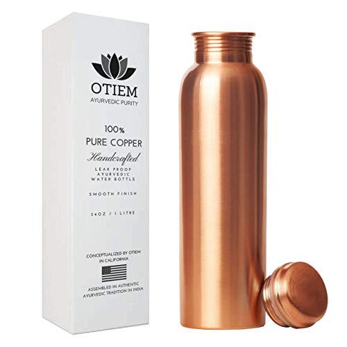 Otiem 100 Pure Copper Water Bottle Ayurvedic - 1 Litre