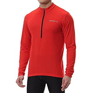 Spotti Men's Long Sleeve Cycling Jersey, Bike Biking Shirt- Breathable and Quick Dry (Chest 40-42 - Large)
