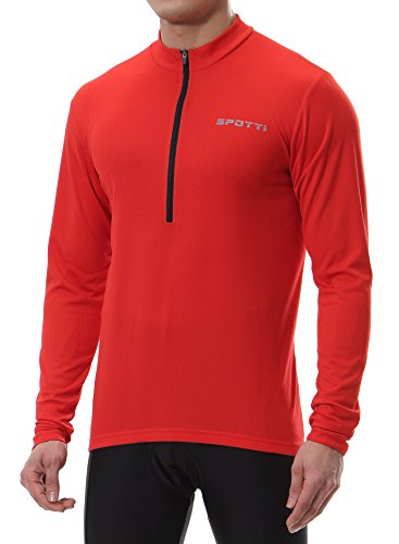Spotti Men's Long Sleeve Cycling Jersey, Bike Biking Shirt- Breathable and Quick Dry (Chest 42-44 - XL,Red)