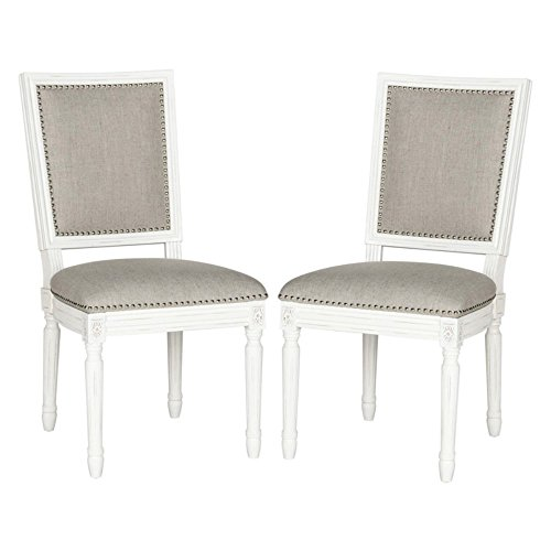 "Safavieh Home Collection Buchanan French Brasserie Light Grey Linen & Cream Rectangle Side Chair (Set of 2), 19"" -  FOX6229D-SET2"