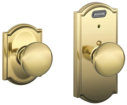 - Schlage FE10 PLY 505 CAM Built-in Alarm, Camelot Collection Plymouth Hall and Closet Knob Door Lock, Bright Brass