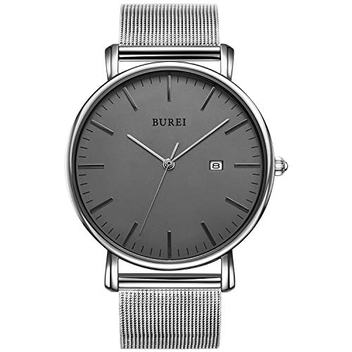 - BUREI Men's Fashion Minimalist Wrist Watch Analog Deep Gray Date with Silver Stainless Steel Mesh Band (Gray Silver)