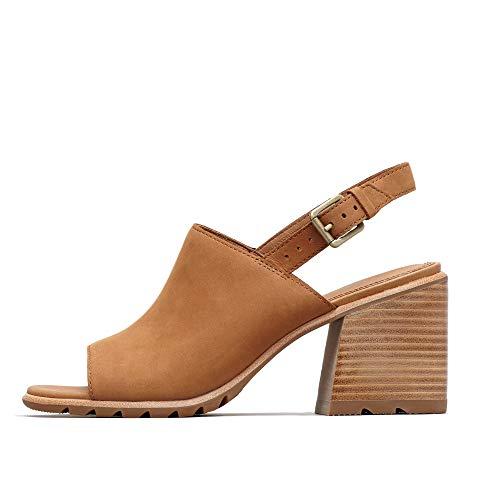 Sorel - Women's Nadia Slingback Open Toe Sandals with Ankle Strap and Heel, Camel Brown, 7.5 M US