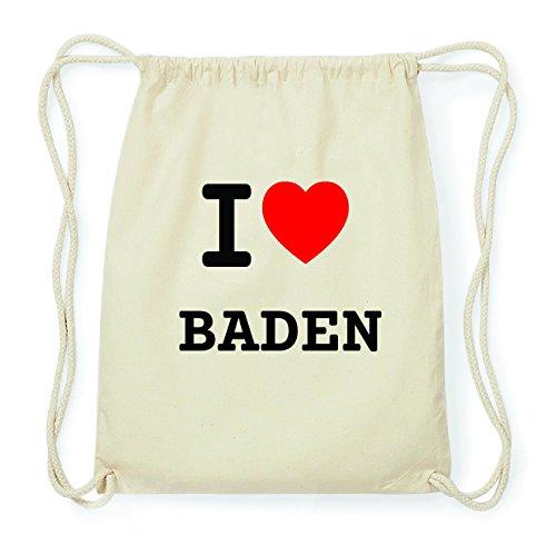 JOllify BADEN Hipster Turnbeutel Tasche Rucksack aus Baumwolle - Farbe: natur Design: I love- Ich liebe ijpkiM