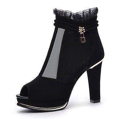 LvYuan Mujer-Tacón Cono-Confort-Sandalias-Oficina y Trabajo Vestido-Sintético-Negro Bermellón Black