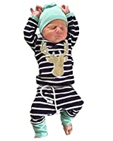 3pcs/Set Newborn Baby Boys Girls Striped Long Sleeve Deer Tops Pants Hat Outfits