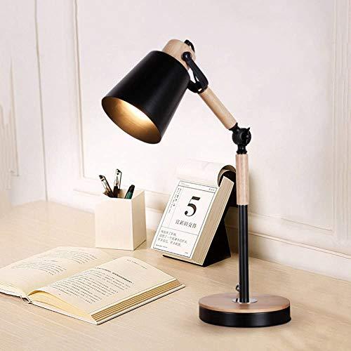 AXM Nordic Personalidad calida Mesa Minimalista Moderna lampara de Noche Dormitorio lampara Creativa para Decorar el Estudiante lampara de Escritorio de Oficina Estudio,Black