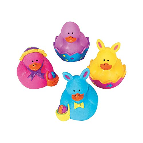 Fun Express - Mini Easter Ducks (2dz) for Easter - Toys - Character Toys - Rubber Duckies - Easter - 24 Pieces