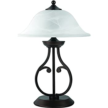Merveilleux Coaster Transitional Dark Bronze Table Lamp With Glass Shade