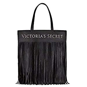 Victoria's Secret Limited Edition BLACK Faux Leather Flirty Fringe TOTE BAG NEW