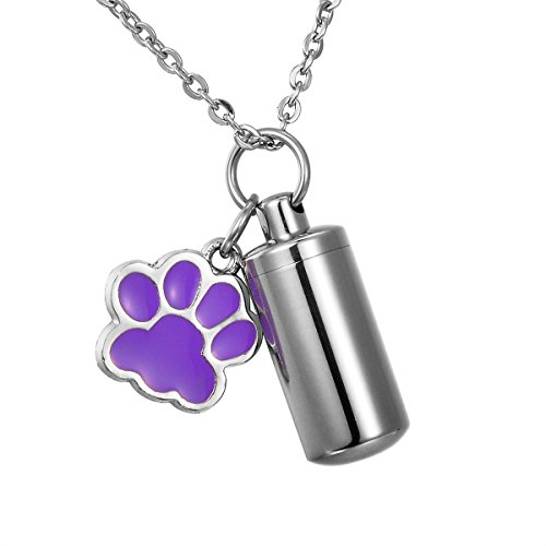 HooAMI Purple Pet Dog Paw Cylinder Cremation Urn Keychain Ash Holder Memorial Necklace